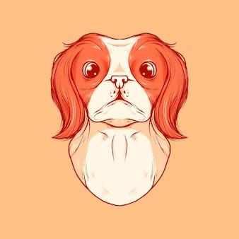 Vektor-illustration der hundekopf-vintage-vektor-illustration, geeignet für logo, einladungskarte, grußkarte und druckbares produkt usw.