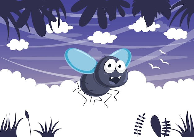 Vektor-illustration der karikatur-fliege