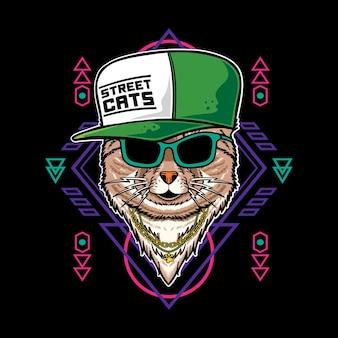 Vektor-illustration der katzenkarikatur mit vintage-retro-hip-hop-rapper-stil in schwarzem hintergrund