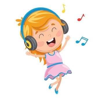 Vektor-illustration der kinderhörenden musik