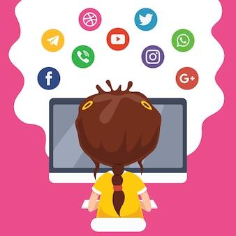 Vektor-illustration der kindertechnologie