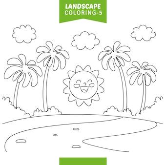 Vektor-illustration der landschaftsfarbtonseite