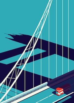 Vektor-illustration der london bridge mit vorbeifahrendem bus