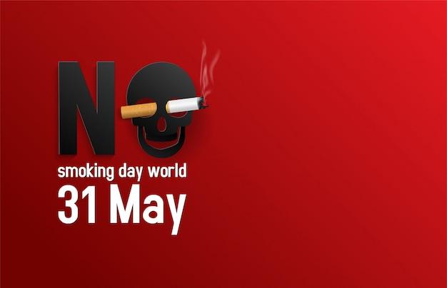 Vektor-illustration der nichtraucherweltwelt des konzeptes. kein tabaktag