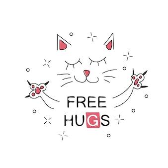 Vektor-illustration der niedlichen cartoon-hand gezeichnete katze mit offenen armen, schriftzug kostenlose umarmungen, skizzenfarbzeichnung, kann als modedruck für t-shirt oder pyjamas, karte, poster verwendet werden