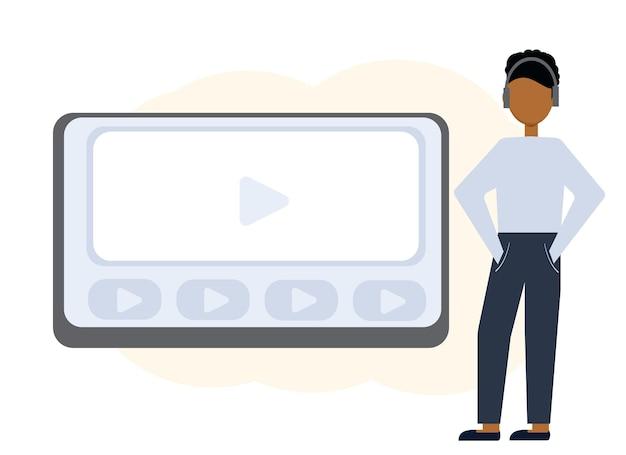 Vektor-illustration der online-bildung mit laptop-monitor und mann in kopfhörern
