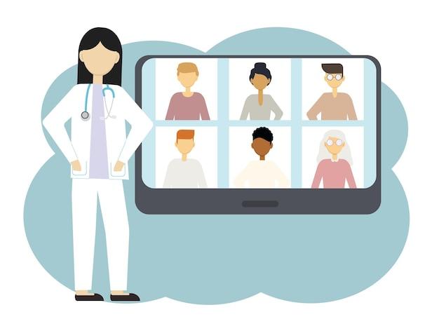 Vektor-illustration der online-kommunikation eines arztes mit mehreren personen