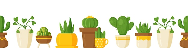 Vektor-illustration der pflanzendecke auf weißem hintergrund. unendlicher hintergrund mit zimmerpflanzen. kakteen, efeu und andere blumen in vasen. schönes muster von hausblumen.