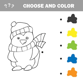 Vektor-illustration der pinguin-cartoon - malbuch für kinder