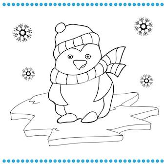 Vektor-illustration der pinguin-cartoon - malbuch