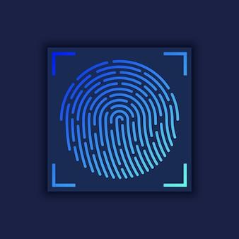 Vektor-illustration der sicherheits-fingerabdruck-authentifizierung. finger identität. biometrische abbildung der technologie.