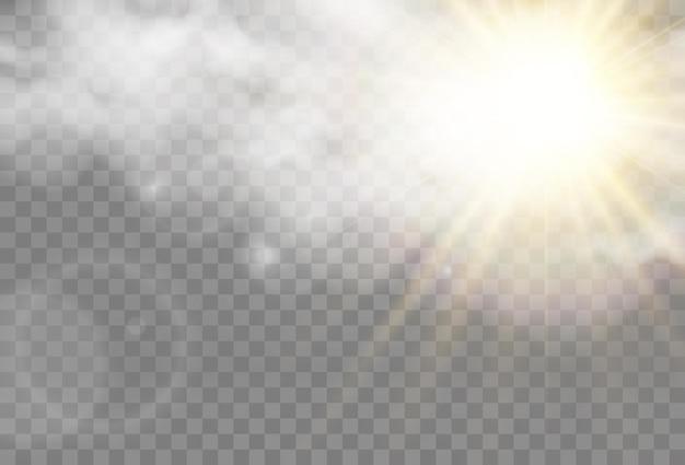 Vektor-illustration der sonne, die durch die wolken scheint sonnenlicht bewölkter vektor