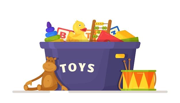 Vektor-illustration der spielzeugkiste. blauer kasten mit verschiedenen spielsachen für kinder lokalisiert auf weißem hintergrund. reinigung im kinderzimmer. entwicklungsspiele.