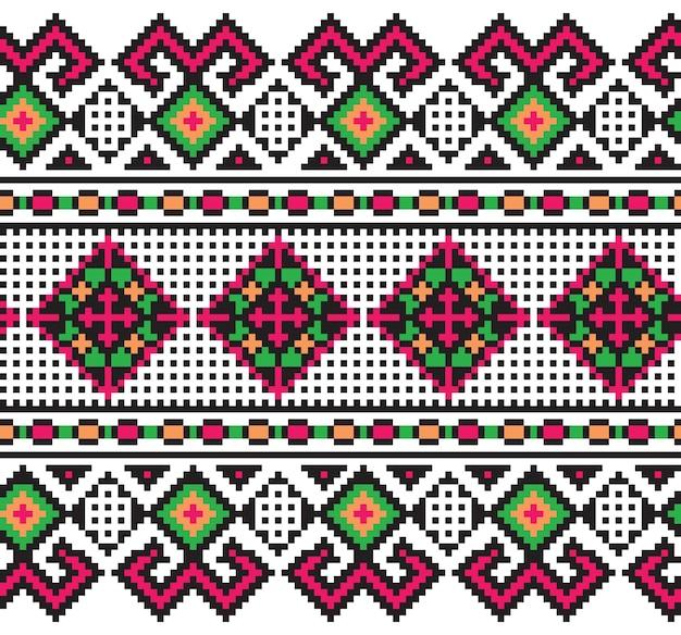 Vektor-illustration der ukrainischen folk nahtlose muster ornament. ethnische verzierung. randelement. traditionelle ukrainische, belarussische volkskunst gestrickt stickerei muster - vyshyvanka
