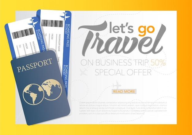 Vektor-illustration der welt tourismus tag poster banner mit der zeit zu reisen banner mit reisepass und tickets, geschäftsflugreise.