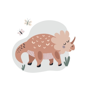 Vektor-illustration des ausgestorbenen tieres großer brauner dinosaurier, der im flachen stil zeichnet