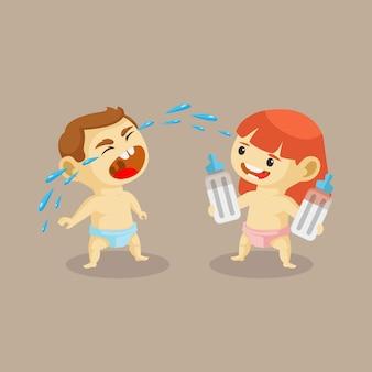 Vektor-illustration des cartoon-babys, das so laut weint, weil es keine milch bekommt