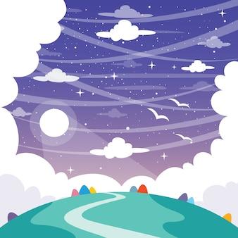 Vektor-illustration des fantasie-landschaftshintergrundes