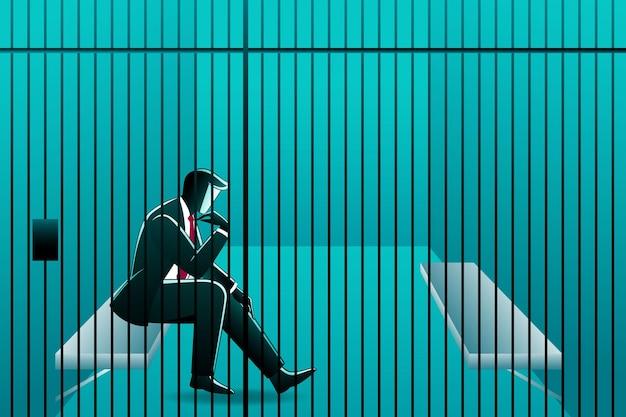 Vektor-illustration des geschäftskonzepts, ein geschäftsmann, der im gefängnis sitzt