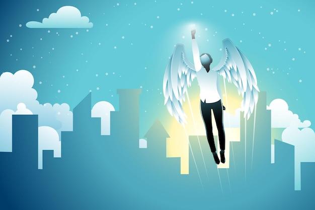 Vektor-illustration des geschäftskonzepts, geflügelte geschäftsfrau, die auf gebäudehintergrund in den himmel fliegt