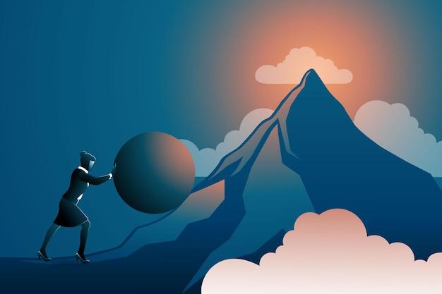 Vektor-illustration des geschäftskonzepts, geschäftsfrau schiebt riesigen ball bergauf