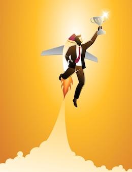 Vektor-illustration des geschäftskonzepts, geschäftsmann, der durch den raketenanzug fliegt, erreichen trophäe