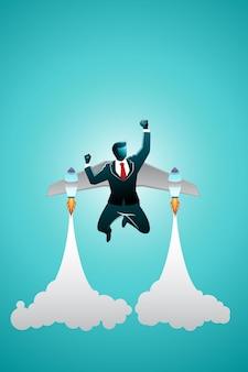 Vektor-illustration des geschäftskonzepts, geschäftsmann, der durch den raketenanzug fliegt