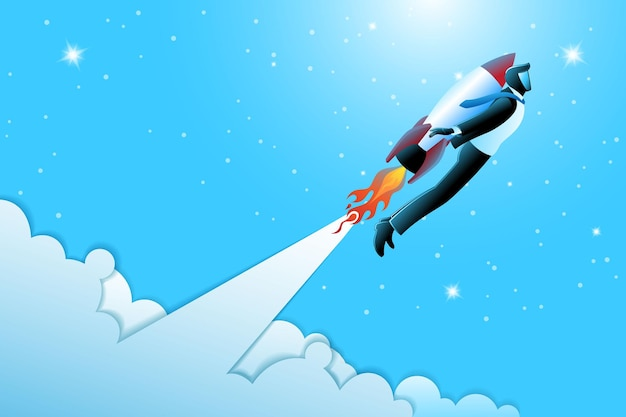 Vektor-illustration des geschäftskonzepts, geschäftsmann, der durch die rakete fliegt