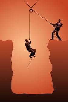 Vektor-illustration des geschäftskonzepts, geschäftsmann, der seinen partner mit einer riemenscheibe von der klippe hebt