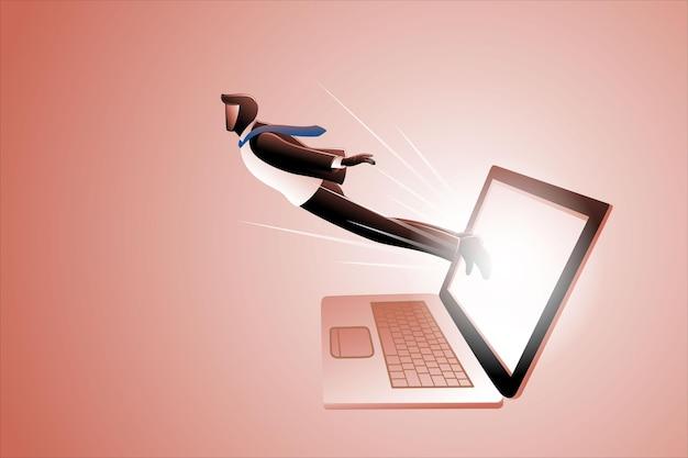 Vektor-illustration des geschäftskonzepts, geschäftsmann, der vom laptop-bildschirm herausfliegt