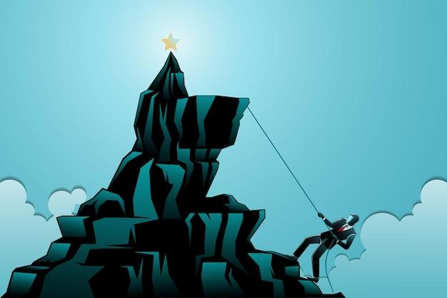 Vektor-illustration des geschäftskonzepts, geschäftsmann klettert auf einen berg, um den stern zu bekommen