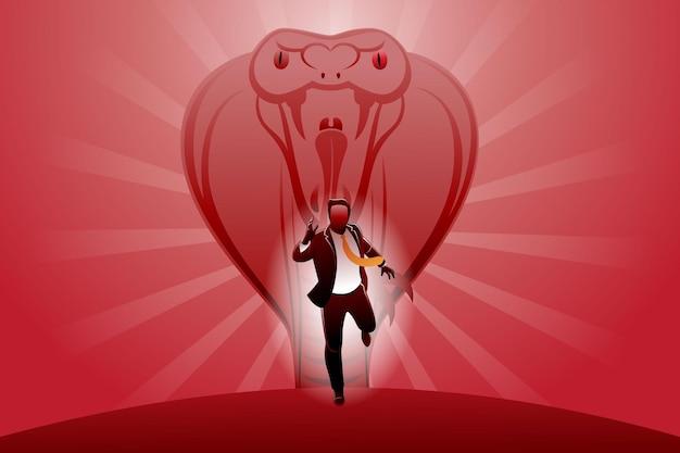 Vektor-illustration des geschäftskonzepts, geschäftsmann läuft, der von großen königskobras gejagt wird