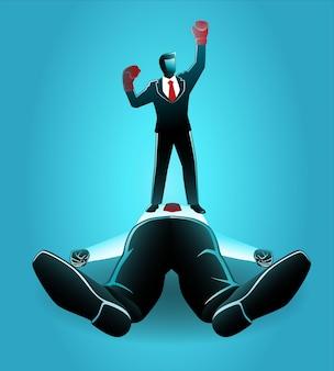 Vektor-illustration des geschäftskonzepts, geschäftsmann mit boxhandschuhen besiegen seinen riesigen rivalen