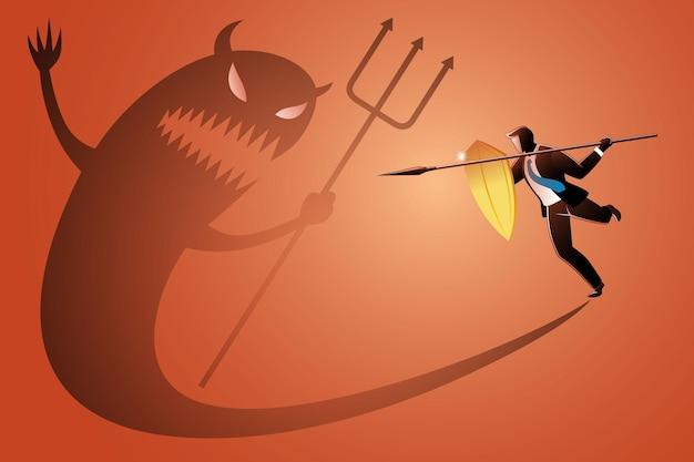 Vektor-illustration des geschäftskonzepts, geschäftsmann mit speer und schild, der mit seinem eigenen bösen schatten kämpft