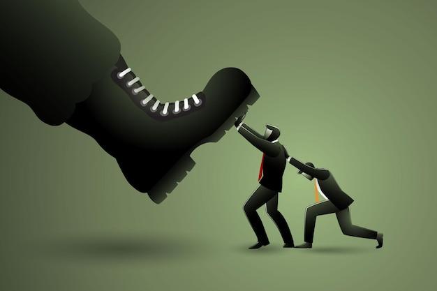 Vektor-illustration des geschäftskonzepts, zwei geschäftsleute, die gegen einen riesigen militärzug zusammenarbeiten