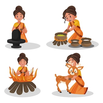 Vektor-illustration des göttin-sita-zeichensatzes