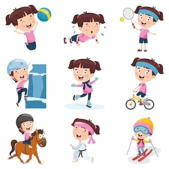 Vektor-illustration des karikatur-mädchens verschiedene aktivitäten tuend