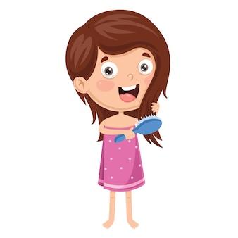 Vektor-illustration des kinderbürsten-haares