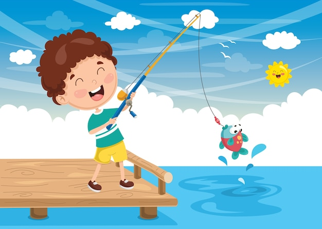 Vektor-illustration des kinderfischens