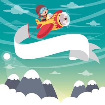 Vektor-illustration des kinderfliegen-flugzeugs mit fahne
