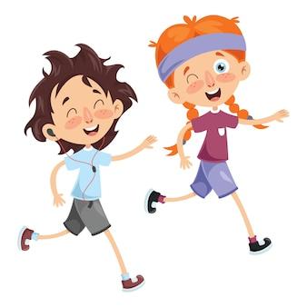 Vektor-illustration des kinderlaufens