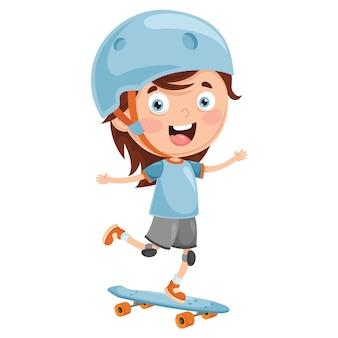 Vektor-illustration des kinderskateboarding