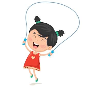 Vektor-illustration des kinderspringseils