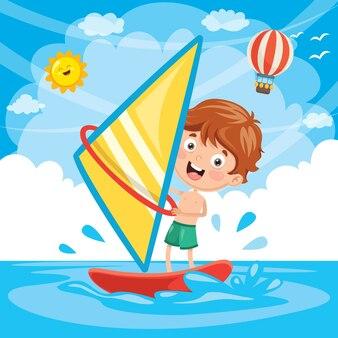 Vektor-illustration des kinderwindsurfens