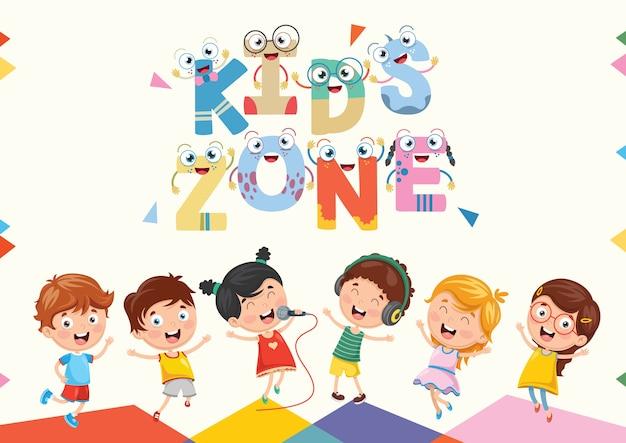 Vektor-illustration des kinderzonen-hintergrund-designs
