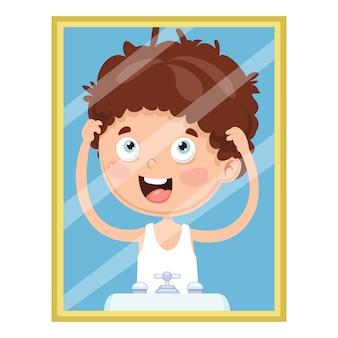 Vektor-illustration des kindes den spiegel betrachtend