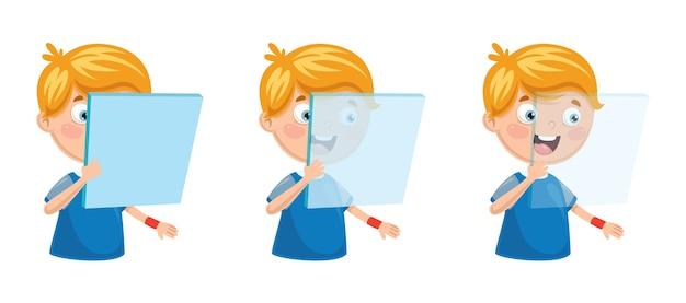 Vektor-illustration des kindes glas halten