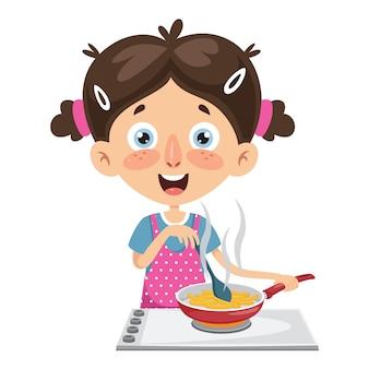 Vektor-illustration des kindes mahlzeit kochend