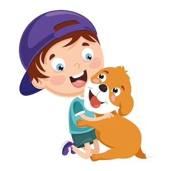 Vektor-illustration des kindes spielend mit hund