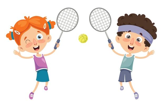 Vektor-illustration des kindes tennis spielend